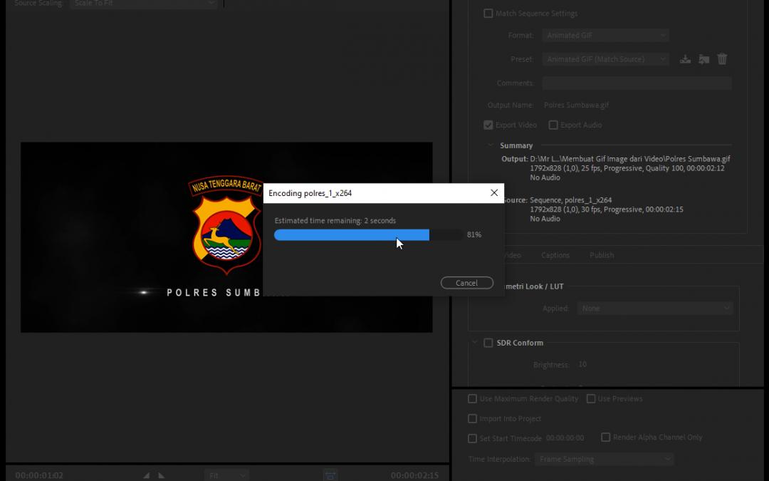 Cara Membuat Animasi Gif dari Video menggunakan Adobe Premiere