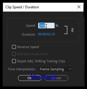 Menu Speed/Duration